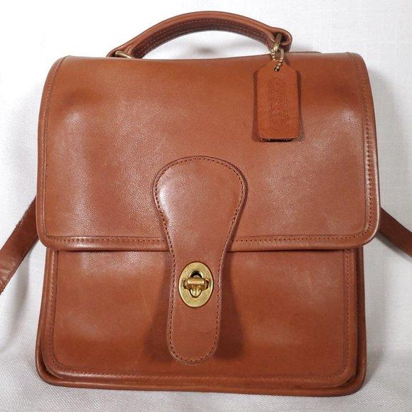 Vintage coach willis leather cognac flap messenger